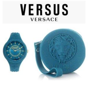 Versus Versace Teal Fire Glitter Silicone Watch